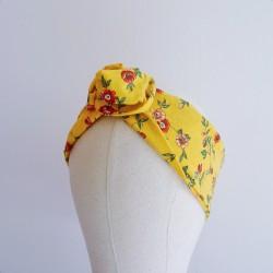 Bandeau twist jaune fleuri