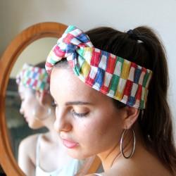 Bandeau twist motifs damier multicolore