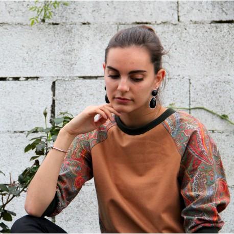 Sweatshirt camel manche motif cachemire