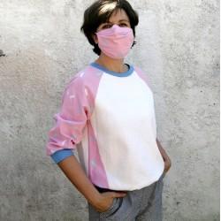 Sweatshirt blanc cassé à manches rose pastel