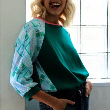 Sweatshirt vert géométrique