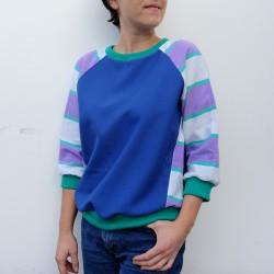 Sweatshirt bleu manches à rayures