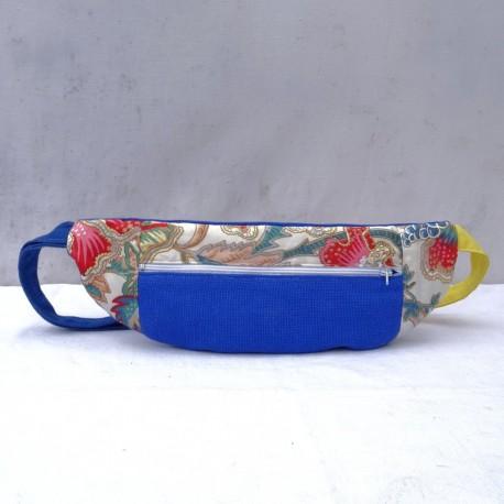Sac banane bleu à fleurs
