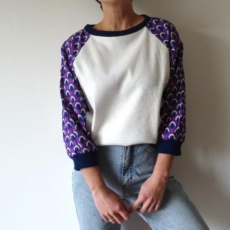 PIECE UNIQUE - Sweatshirt blanc manches violettes